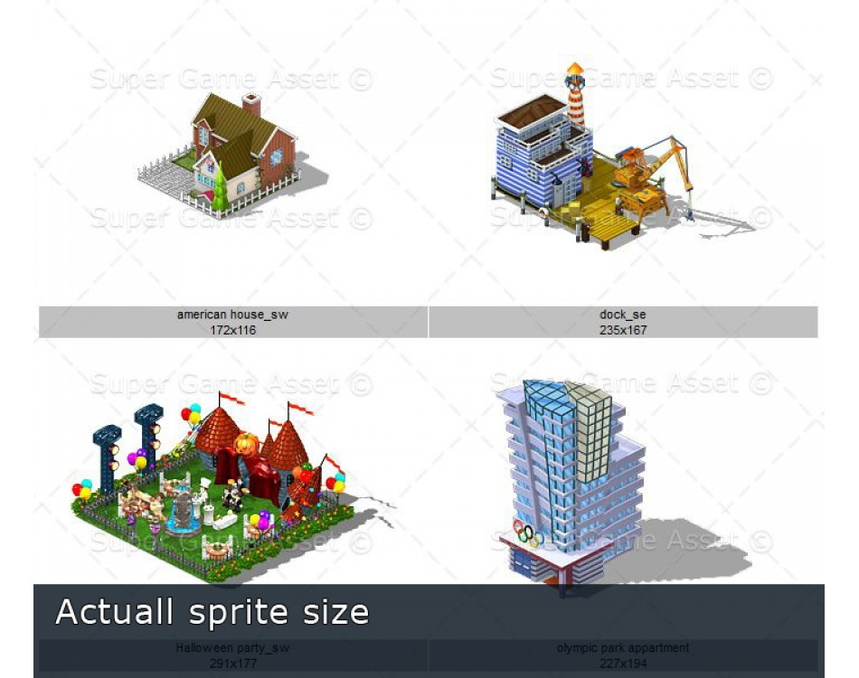 City Buildings Set 1 (Isometric sprite)