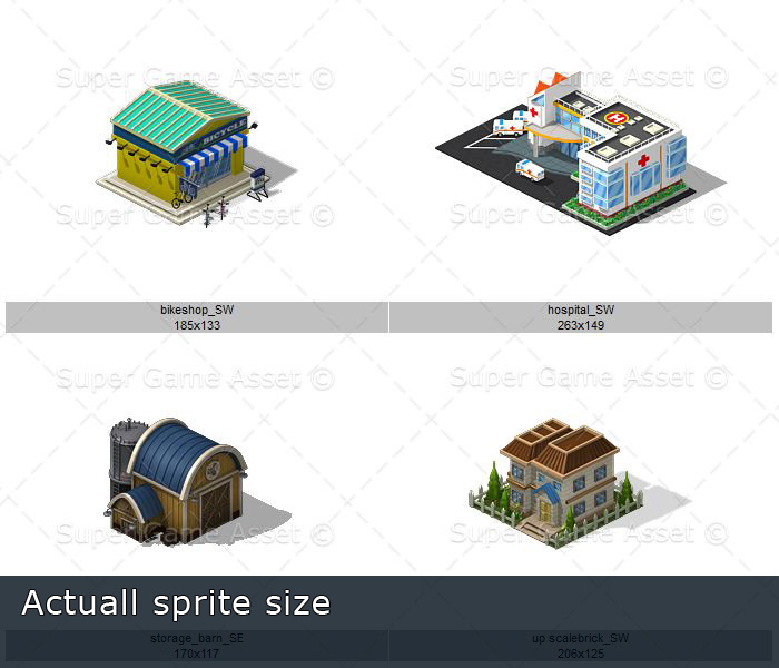 City Buildings Set 2 (Isometric sprite)
