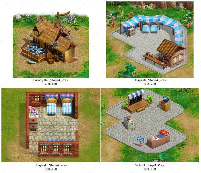 village building tiles