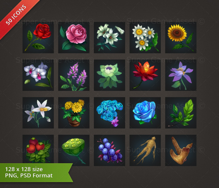 Flower & Plant - RPG Crafting Icon set