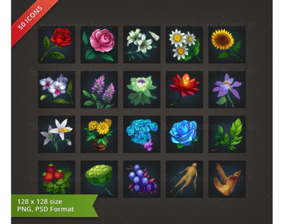 Flower & Plant - RPG Crafting Icon set