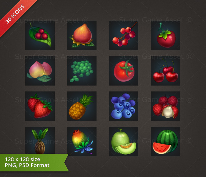 Fruit & Vegetable - RPG Crafting Icon set