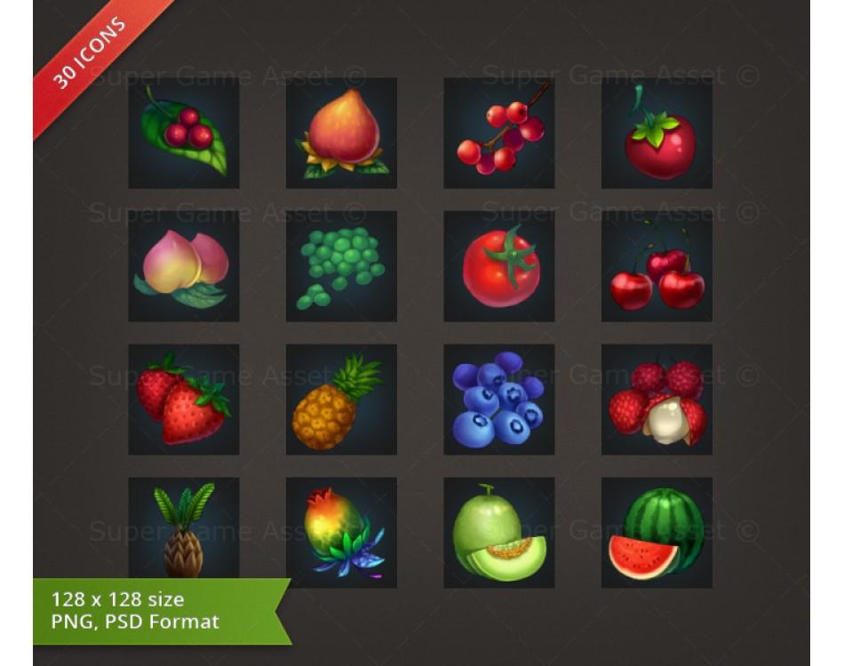 Fruit & Vegetable - RPG Crafting Icon set
