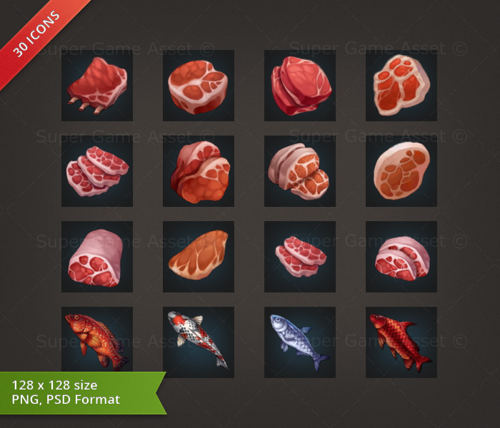 Meat & Fish - RPG Crafting Icon set