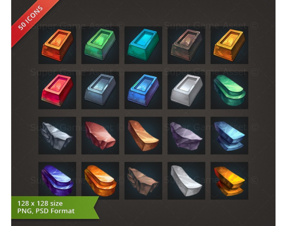 Metal & Mineral - RPG Crafting Icon set