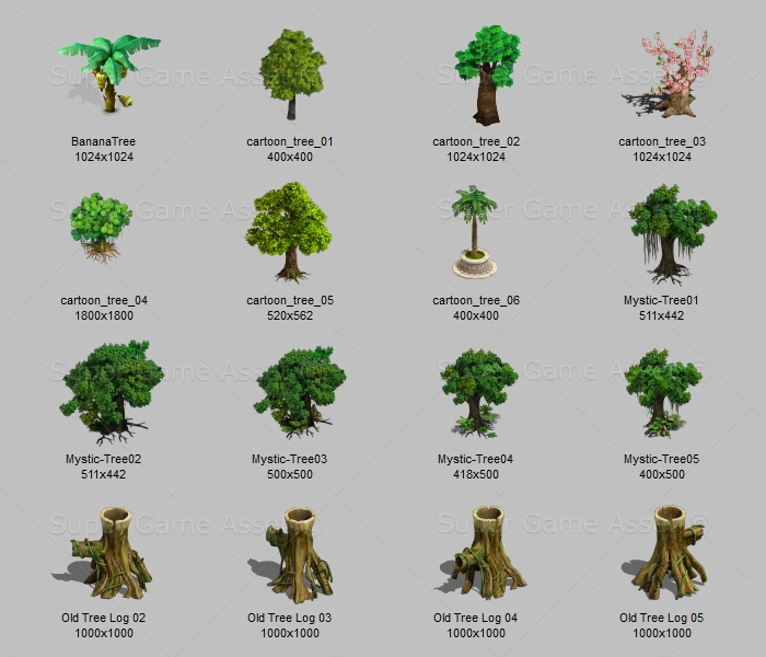 cartoon tree sprites