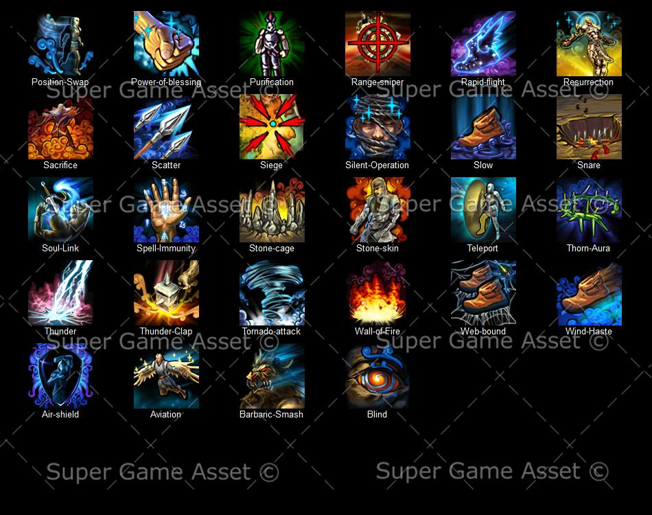 Fantasy RPG hero skill icons