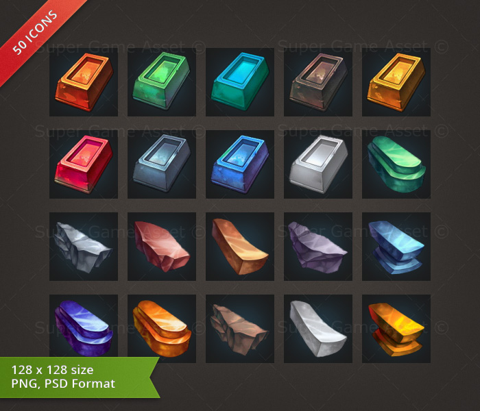 Metal & Mineral RPG Crafting Icon set - game icons - Super